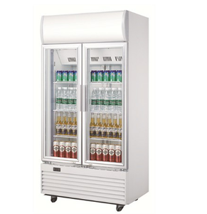 620L Supermarket Glass Door Display Beverage Showcase Double Door Portable Refrigerated Display Chiller Coke Cooler