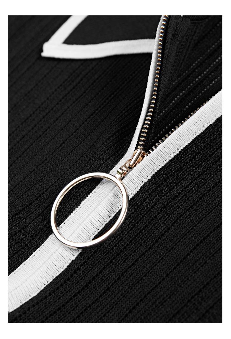 Kısa kollu moda örme zip polo yaka kadın kazak gömlek