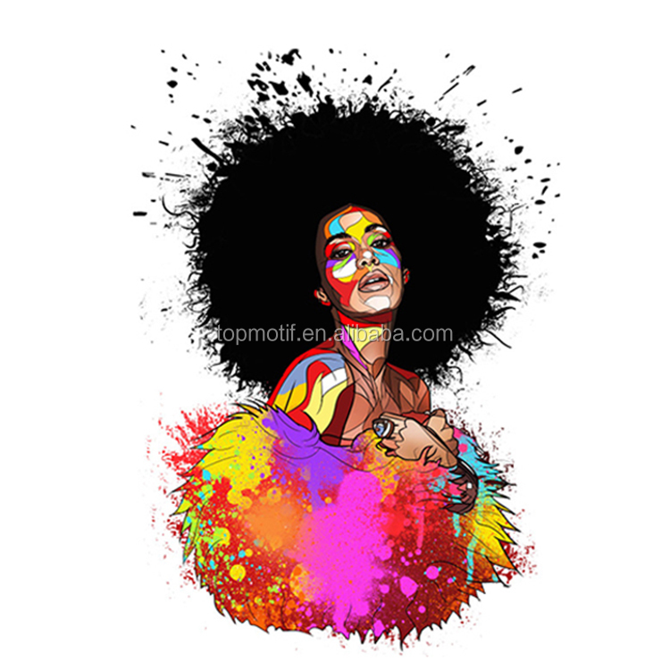 Afro Girl Custom Design trasferimenti di calore stampa In Vinile design