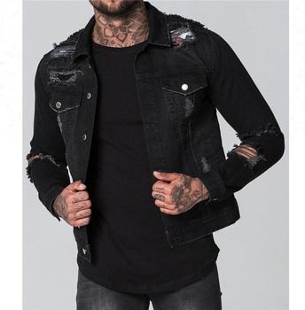f9c2fd920 Royal wolf denim jacket manufacturer black acid wash ripped denim jacket  men denim jean jacket