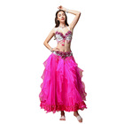 China 2019 new Oriental dance Performance clothes three-piece female red Belly Dance for Adult