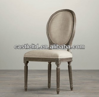 Vintage French Round Upholstered Side Back Of Chair Antique Oak Wooden Dining Weathered