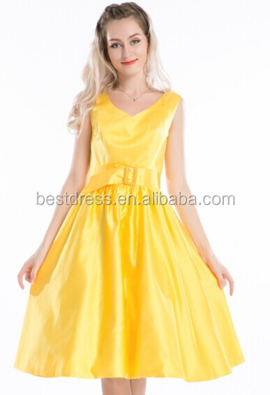 2014 hot sale cheapest Bestdress Yellow 1950's Rockabilly Swing Evening Pinup Prom Retro Satin Dress