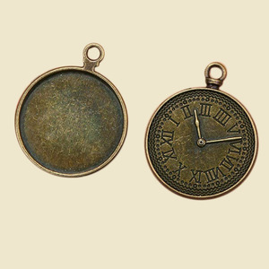 Vintage alloy jewelry accessories, clock pattern with collet antique pendant