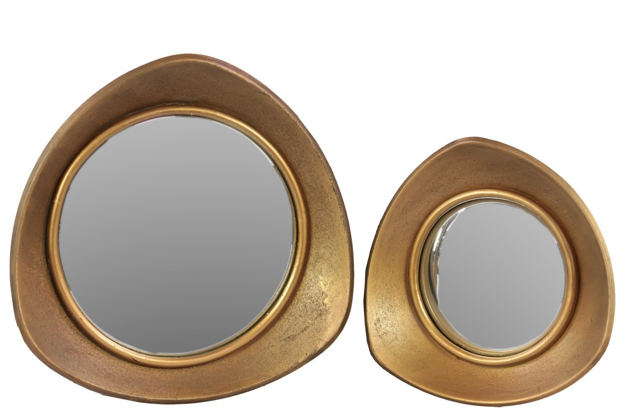 Benzara Unique & Outstanding Design Round Mirror with Triangular Metal Frame, Set of 2