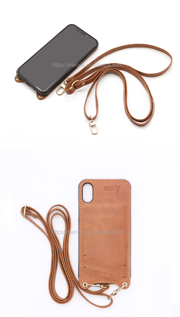2019 new shockproof cover necklace with strap luxury leather phone case cell customised phone case personalised for iphone X XS