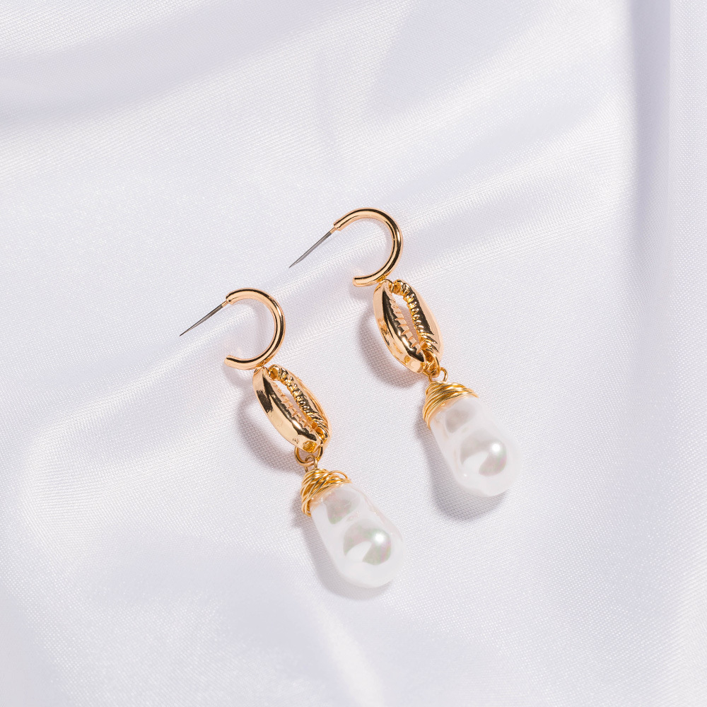 Vogue pearl puddles earrings pearl wire wrap earrings