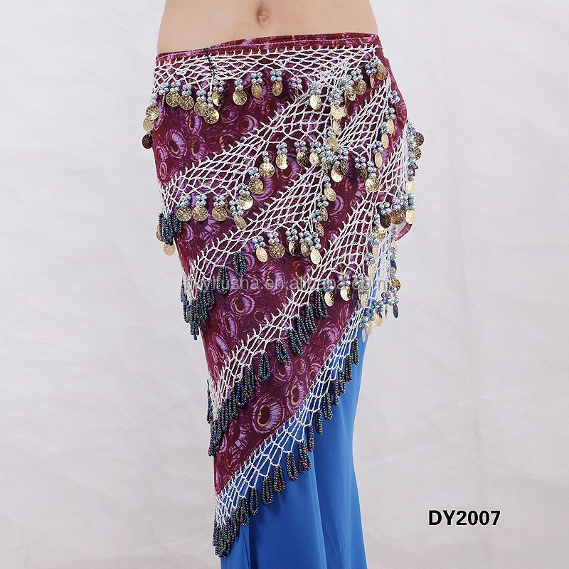 Triangle Tribal Printed Crochet Beaded Belly Dancing Coins Belt