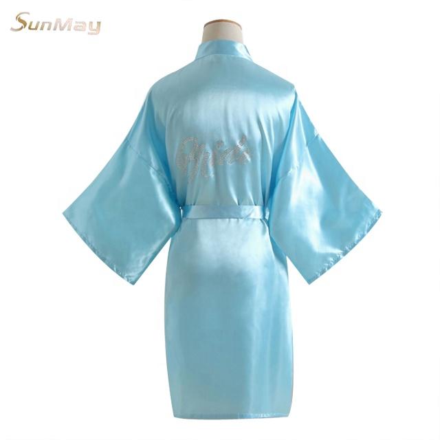 Diamond mosaic bride letter printing bridal silk robes ladies party clothes  bride and bridesmaid robe