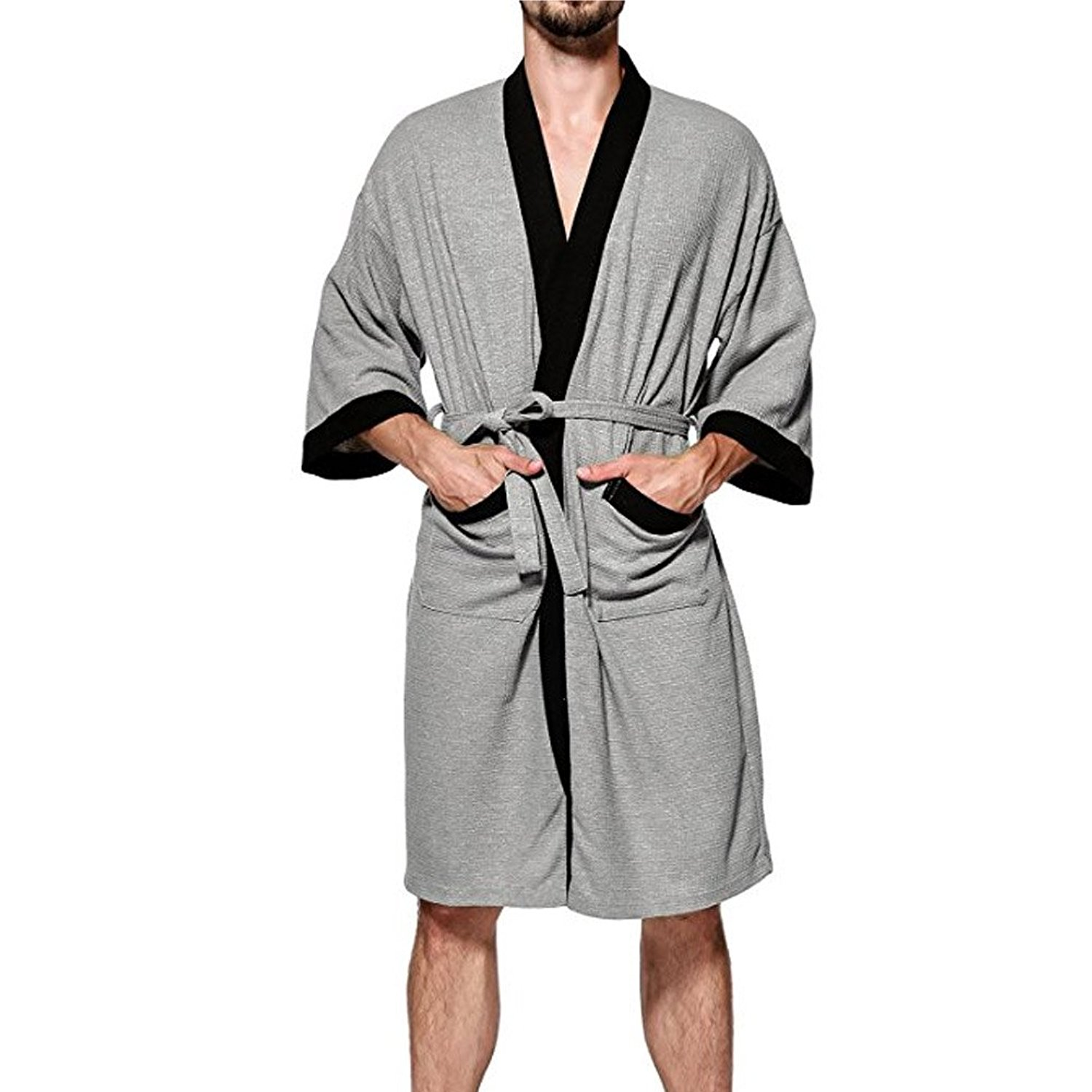 6479ffd3bb Get Quotations · ONAMANO Men s Turkish Cotton Bathrobe Waffle Kimono Terry  Cloth Hotel Spa Robes