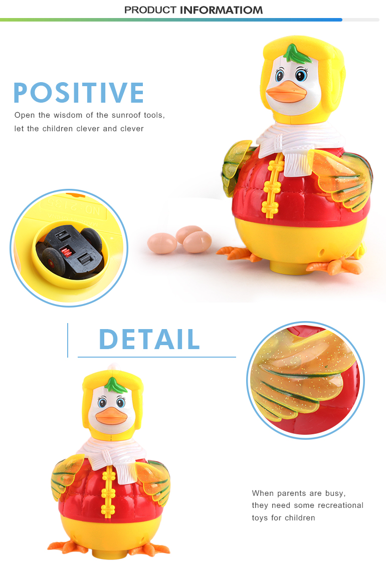 High quality musical light yellow cheap plastic lay eggs duck toy for kids