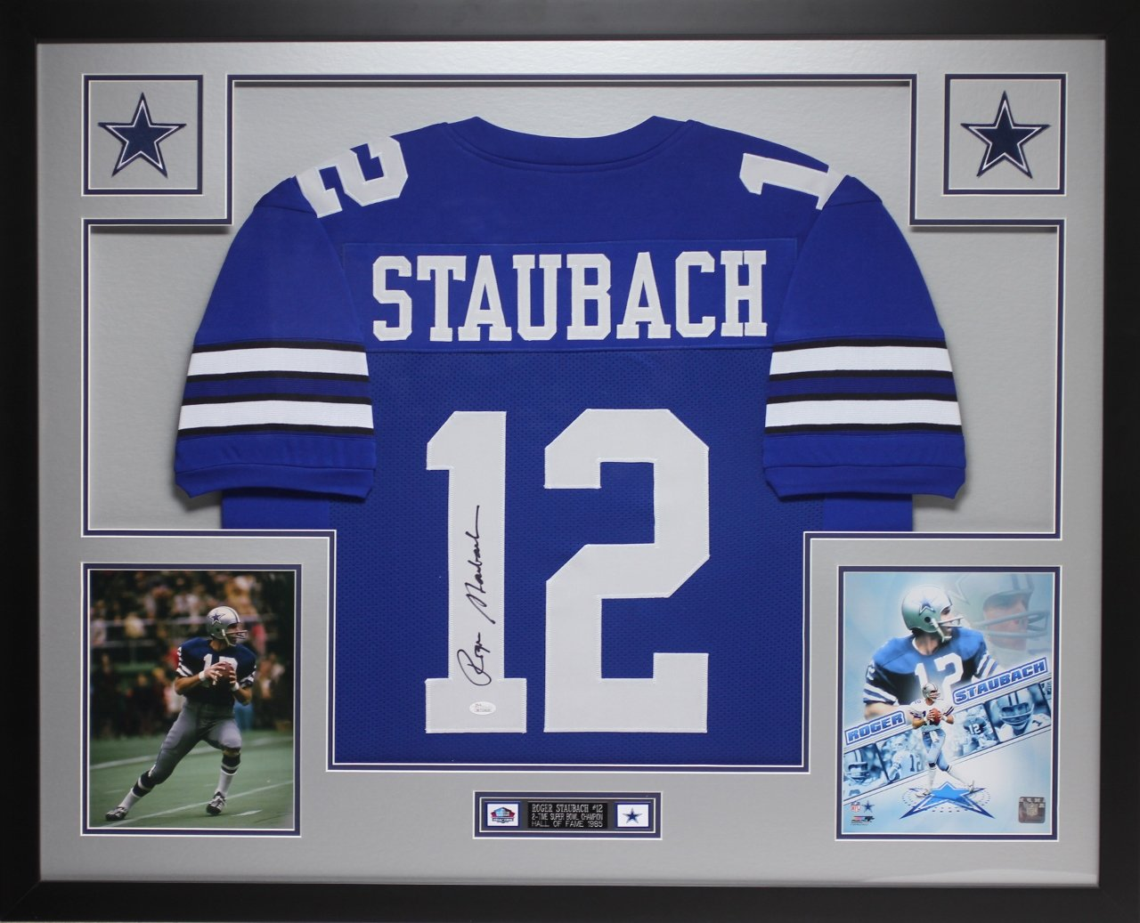 3b9e2df02fe Get Quotations · Roger Staubach Autographed Blue Cowboys Jersey -  Beautifully Matted and Framed - Hand Signed By Roger