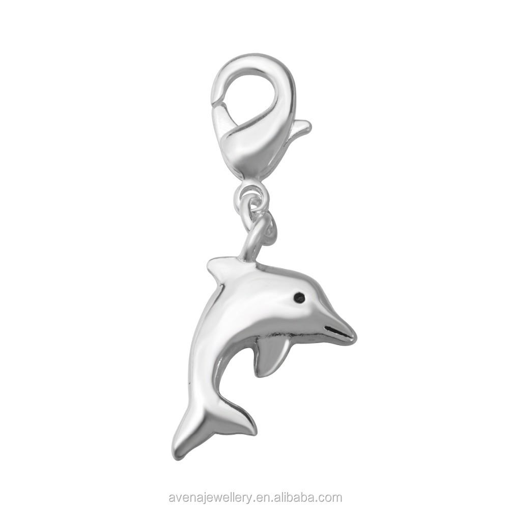 2016 Hot Sale Dolphin Charm Silver Plated Charm with Lobster Clasp for Charm Bracelets Designs T628