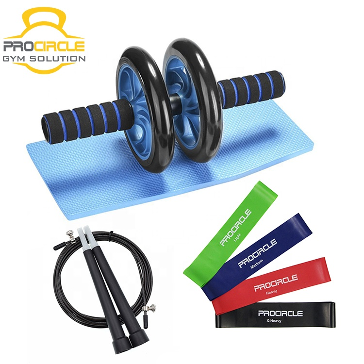 Abdominal Core Exercise AB Wheel Roller Set with 4 Resistance Loop Bands, Jump Rope and Knee Pad for Abs