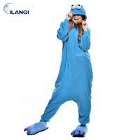 Blue sesame street adult hooded footed pajamas men onesie with drop seat
