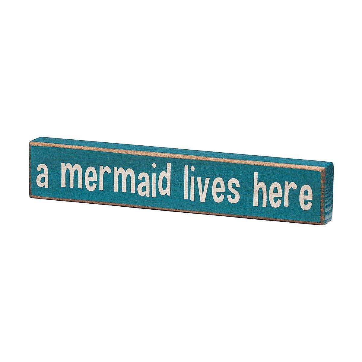 A Mermaid Lives Here - Vintage Coastal Mini Wood Sign - 8-in