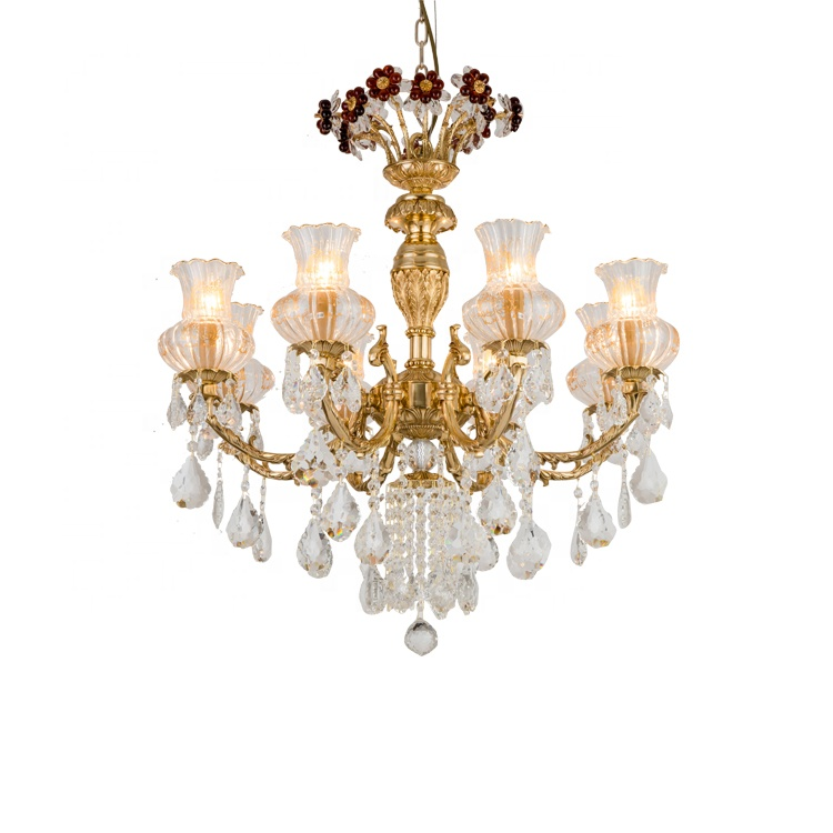 brass chandelier with glass lamp