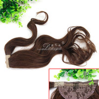 Long wavy 100% remy human hair ponytail easy clip on hair pieces