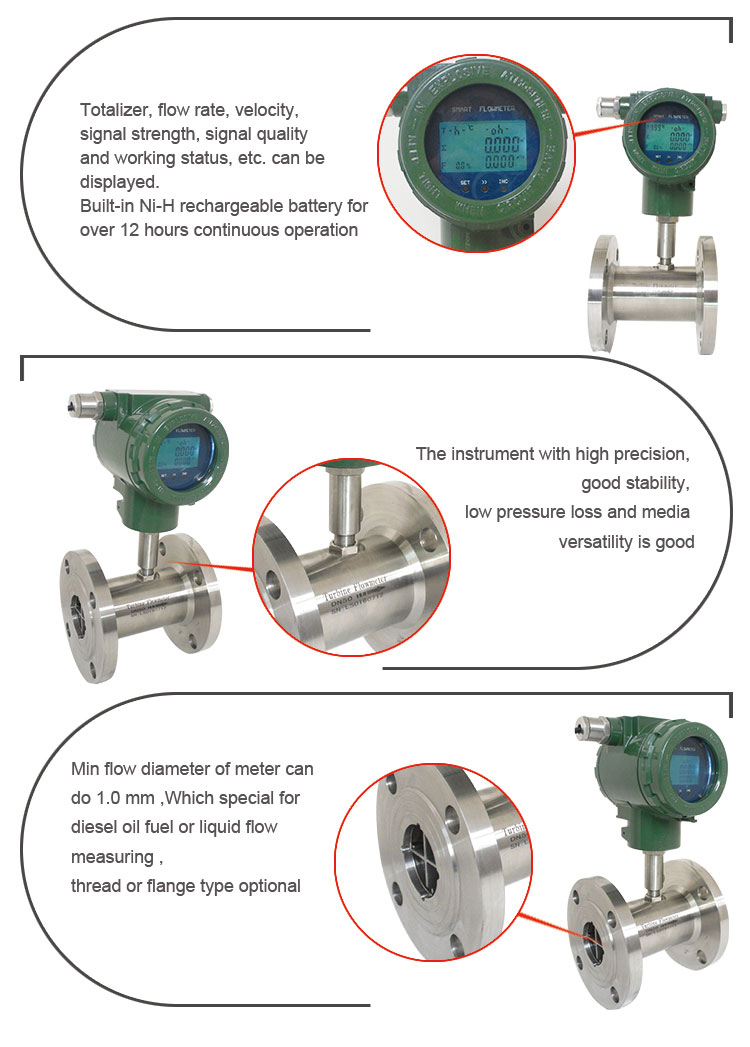 Holykell Factory Hot Selling Cheap Air Gas Diesel Turbine Flowmeter HLY