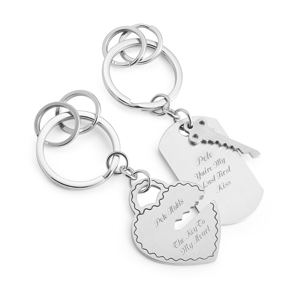 Open your heart couples key chain key and heart key holders laser word