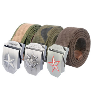 custom 120cm thicker Canvas belt outdoor military alloy buckle woven Weaving Fabric Men's belt wholesale Factory