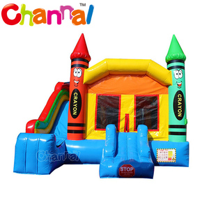 Crayon inflatable bouncer castle combo inflatable bounce house