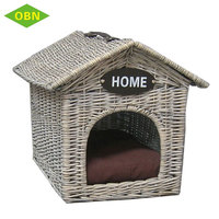 Custom outdoor indoor durable willow woven pet dog house wicker cat house