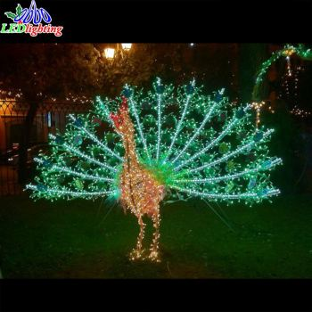 christmas decorations iron frame peacock led outdoor lights