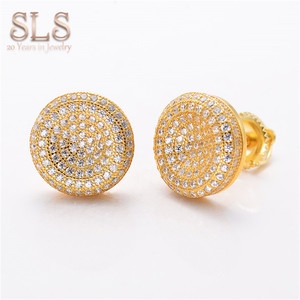 925 Jewellery Round Back Real 18K 14K Gold 925 Sterling Silver Cubic Zirconia Luxury Bijoux Earrings Stud