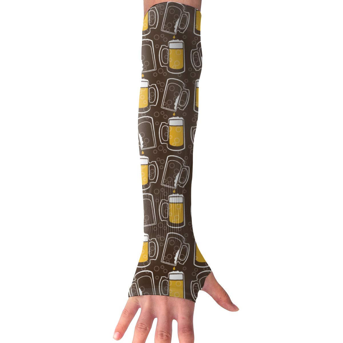 d35baeb628 Get Quotations · ZGZGZ Unisex Sports Arm Sleeves Beer Pattern Travel UV  Protection Comfortable Sleeves Outdoor Riding,Fishing