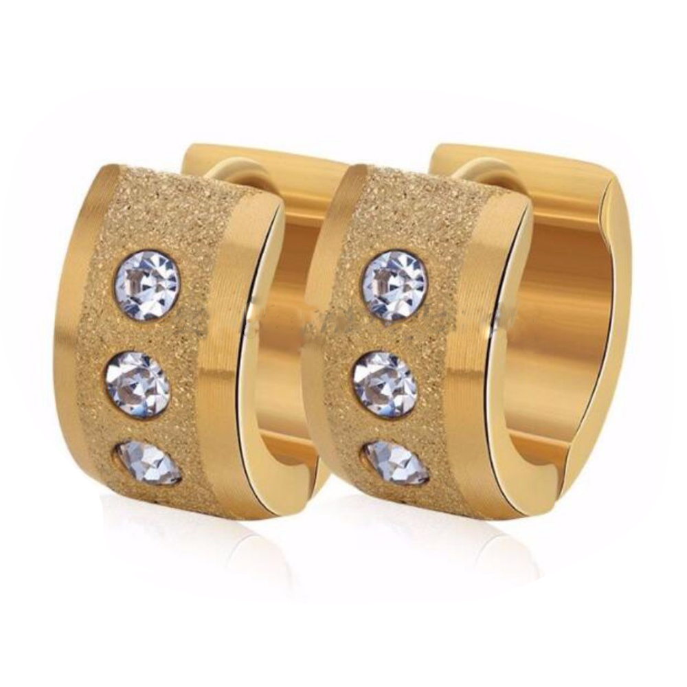New 2016 Latest Designs Surgical Steel Small Crystal 14K Gold Plated Huggie Jewelry Hoop Earrings Women For Girls