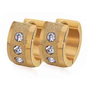 New 2016 Latest Designs Surgical Steel Small Crystal 14K Gold Plated Jewelry Hoop Earrings Women For Girls
