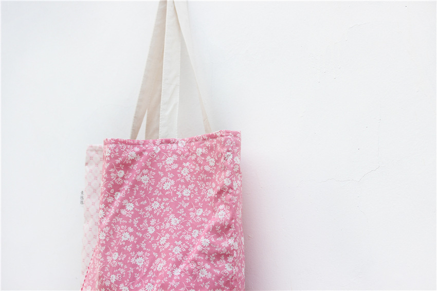 Candy & Fresh Style Pink Plum Blossom Cotton & Linen & Canvas Women Handbag for Travel/Shopping/Sport 45*35cm Free Shipping