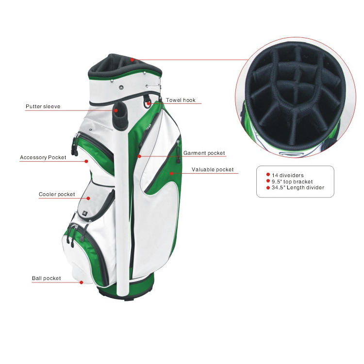Hoge Kwaliteit Stand Carry Golftas Cart Bag