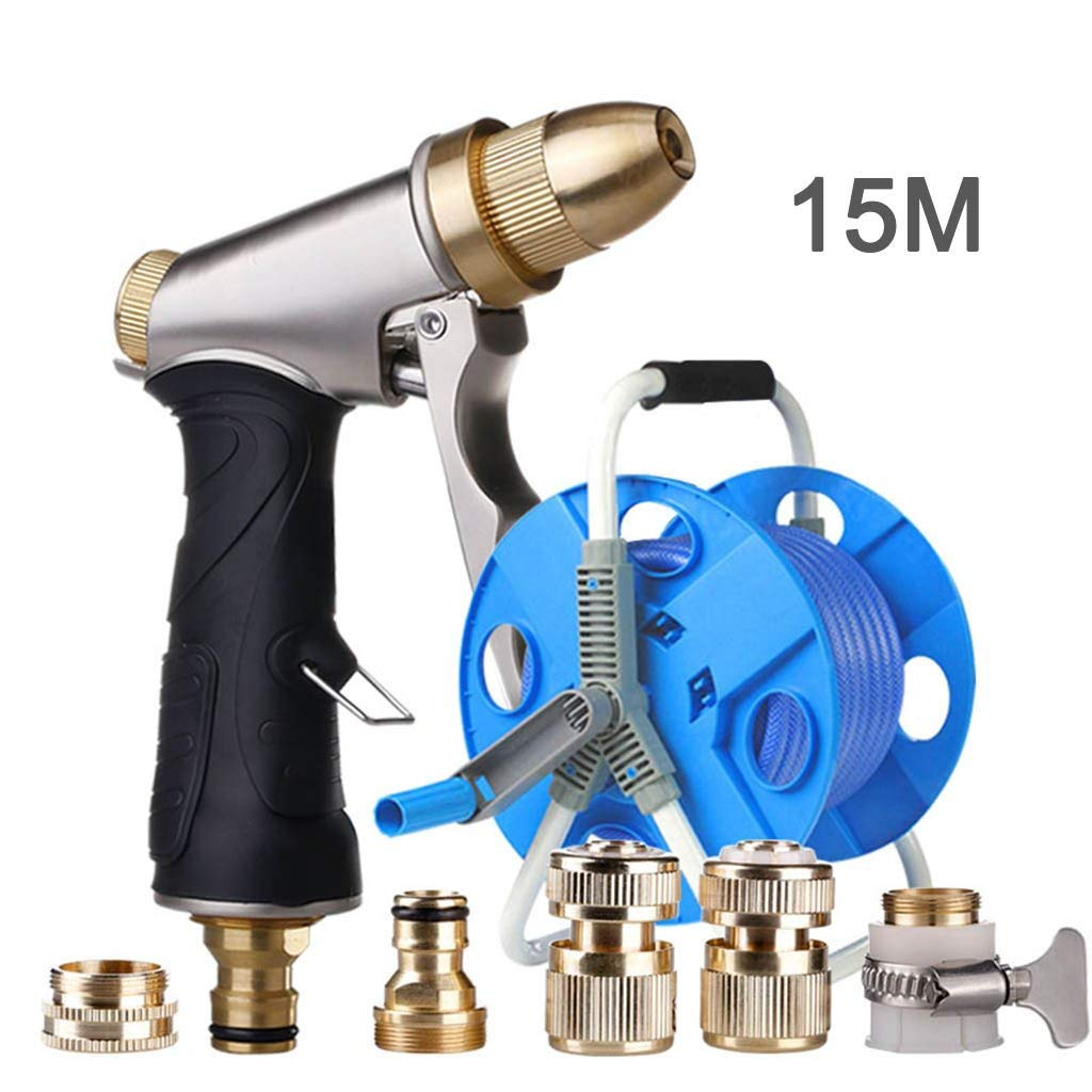 Roscloud@ CAR WASH High Pressure Water Gun Multi-purpose Car Wash Tool Brass Nozzle、Household Brush Gun Kit Golden Car Wash Water Gun Car Wash Tool、All Copper Material Is Powerful