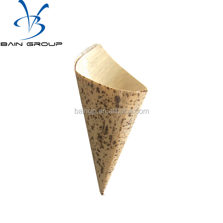 disposable bamboo leaf cone cup for sushi/dessert