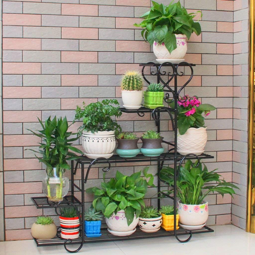 Flower Stand Handmade Vintage Bronze Metal 4 Ties Plant Stands Flower Shelf Display Shelf (Color : A)