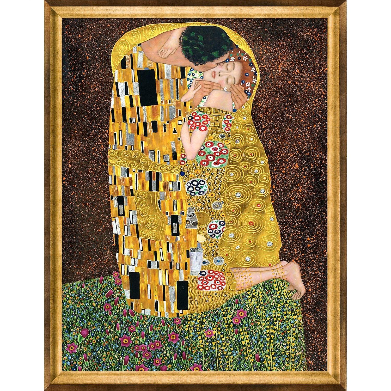 La Pastiche The Embrace Metallic Embellished Artwork By Gustav Klimt With Victorian Gold Frame