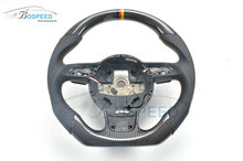 Yellow Stitching Flat Bottom Racing Car Carbon Fiber Steering Wheel For Audi A4L
