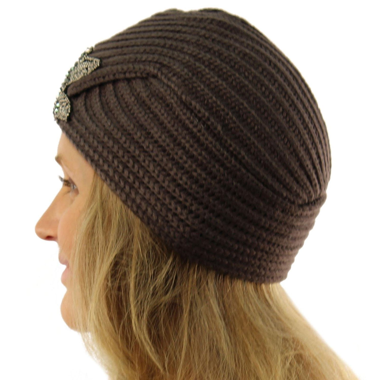 SK Hat shop Ladies Winter Warm Sparkle Floral Turban Soft Knit Beanie Skull Hat Cap