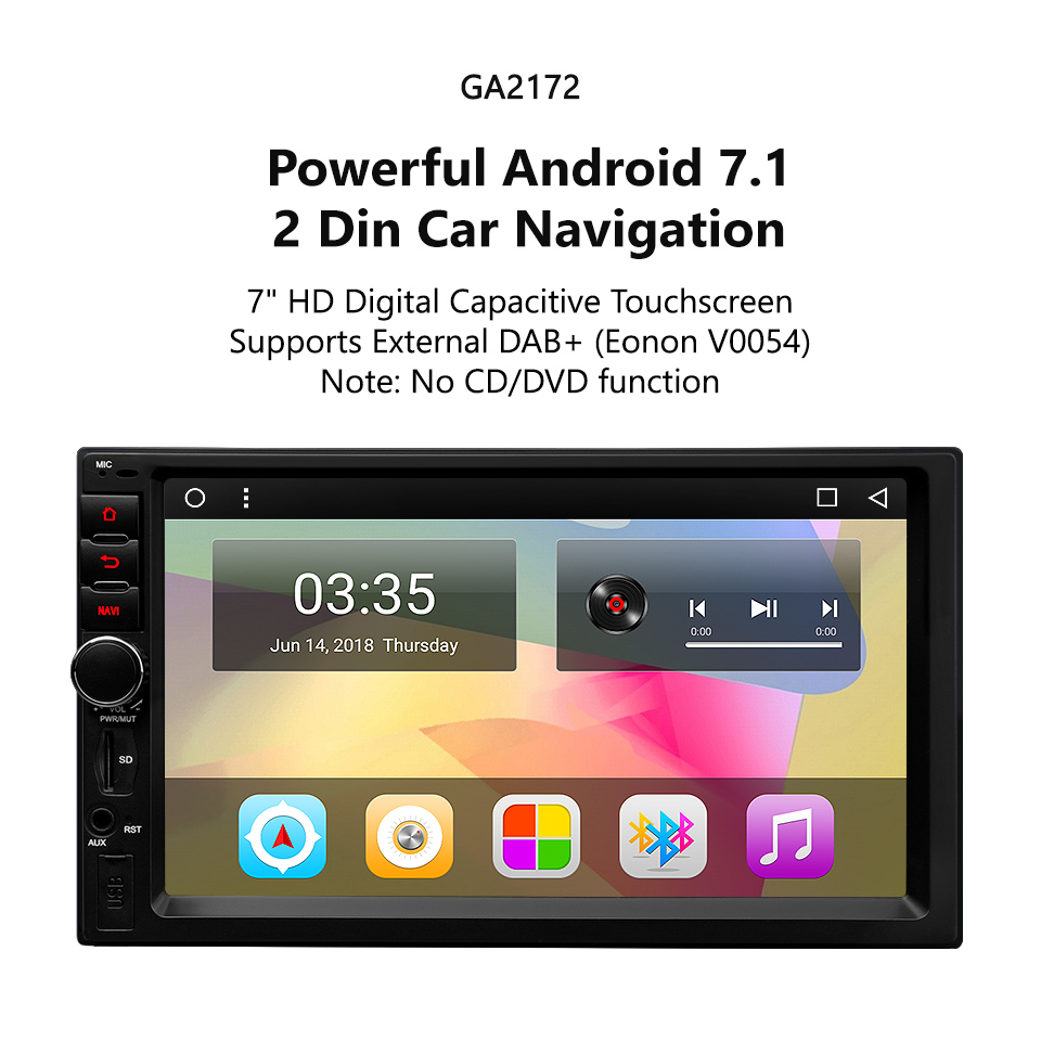 EONON GA2172 Android7.1 Quad-Core 6.2 inch Digital Touch Screen DVD GPS Navigation