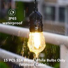 IP65 15 шт теплые белые/разноцветные светодиодные лампы для S14 гирлянды E27 светодиодные ретро лампы накаливания Эдисона наружные садовые Сваде...(Китай)