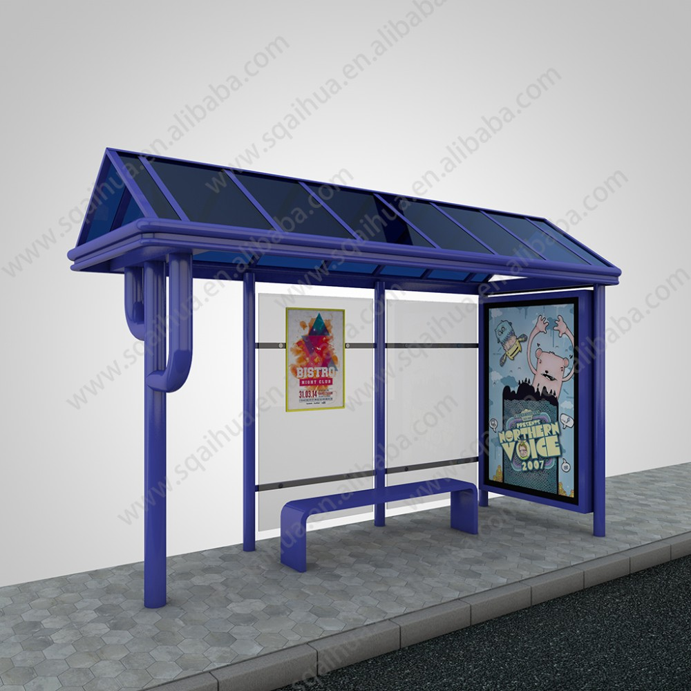 Steel Bus Shelters : Galvanized steel bus stop shelter double faced advertising