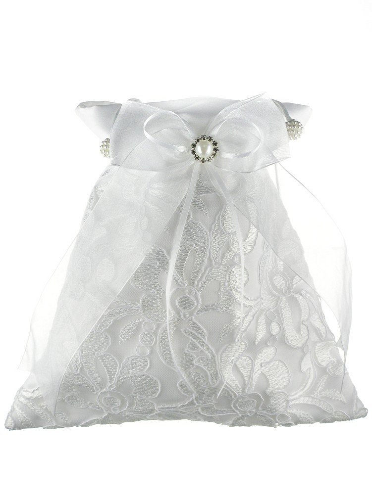 Floral Embroidery Crystal Framed Faux Pearl Chiffon Ribbon Bridal Money Bag White