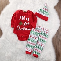 Wholesale Unisex Baby Clothes Long Sleeve Christmas Outfit Baby Winter Cute Romper Pants Hat Clothes Sets