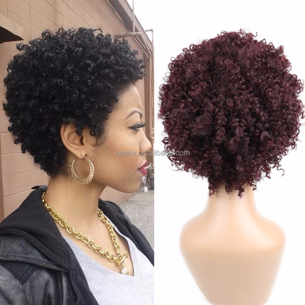 Afro Curl Human Hair Wigs kinky Curly Wig Black 99J Color Jerry Curly Wigs