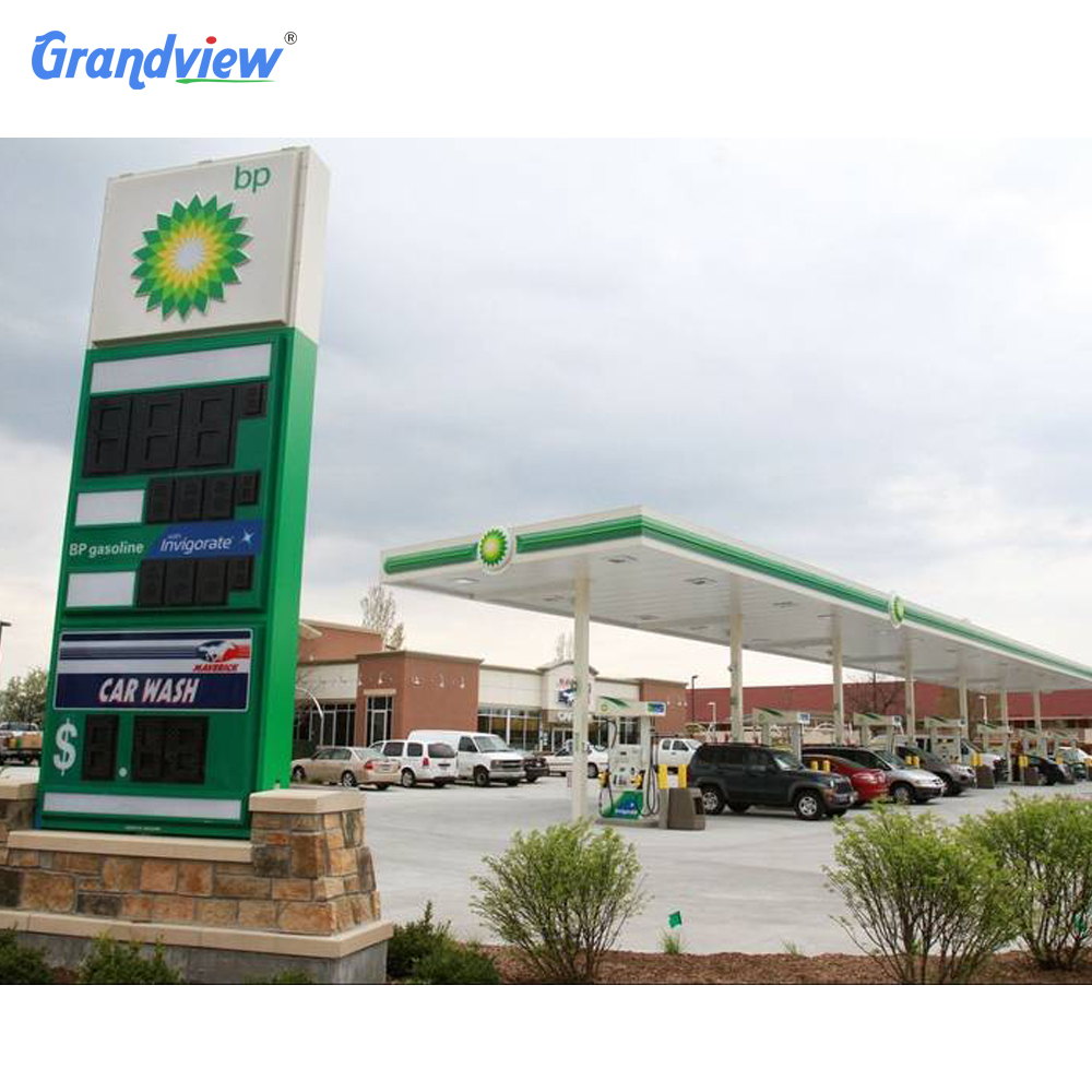 Outdoor Canopy fascia gas station client design lighting strip advertising  sign