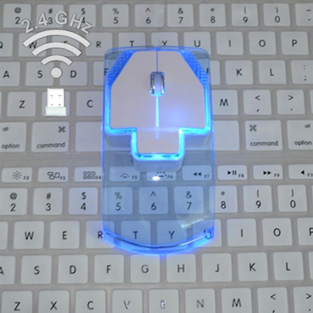 Ultrathin 2.4G Wireless Optical Mouse Silent Gamer Transparent LED Game Mice Hot