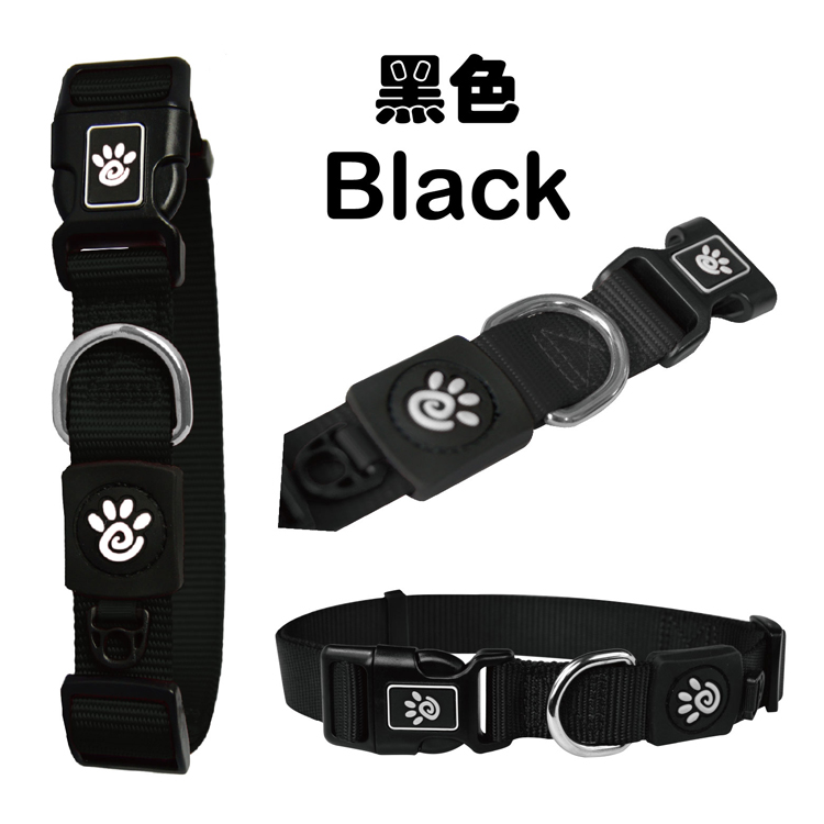 Top sales Good reputation hot-sale custom brand dog collar nylon Medium Black