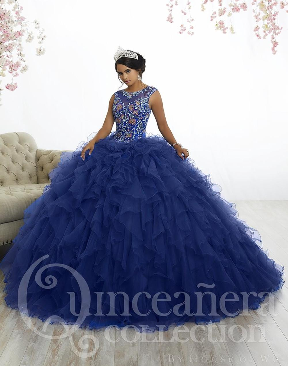 70efdae863 Royal Blue Tulle Ruffles Quinceanera Dresses 2018 Top Quality Ball Gowns  Illusion Neck Beaded Sweet 16 Dresses